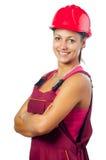 Ευτυχής θηλυκός εργάτης οικοδομών Στοκ Εικόνες