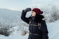 Ευτυχής θηλυκός τουρίστας που απολαμβάνει τη χιονώδη χώρα Στοκ εικόνες με δικαίωμα ελεύθερης χρήσης