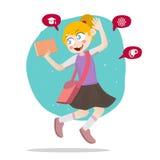 Ευτυχής διανυσματική απεικόνιση σχολικών παιδιών ελεύθερη απεικόνιση δικαιώματος