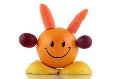 Ευτυχής διατροφή. Αστεία συλλογή χαρακτήρα φρούτων στοκ εικόνα με δικαίωμα ελεύθερης χρήσης