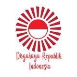 Ευτυχής ινδονησιακή μετάφραση ημέρας της ανεξαρτησίας Έμβλημα σημαιών της ινδονησιακής ευτυχούς ημέρας της ανεξαρτησίας o διανυσματική απεικόνιση