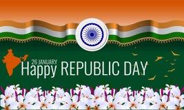 Ευτυχής ινδική ευχετήρια κάρτα υποβάθρου ημέρας Δημοκρατίας Στοκ φωτογραφία με δικαίωμα ελεύθερης χρήσης