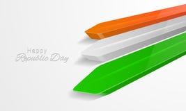 Ευτυχής ινδικός εορτασμός ημέρας Δημοκρατίας με το στιλπνό τρισδιάστατο βέλος Στοκ Εικόνα