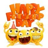 Ευτυχής κάρτα έννοιας ημέρας φιλίας με την ομάδα κίτρινων χαρακτηρών κινουμένων σχεδίων emoji στοκ εικόνα