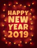 Ευτυχής κάρτα έτους του 2019 νέα με τη γιρλάντα Στοκ Εικόνες
