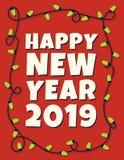 Ευτυχής κάρτα έτους του 2019 νέα με τη γιρλάντα Στοκ Φωτογραφία
