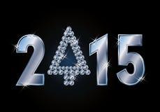 Ευτυχής κάρτα έτους του 2015 νέα με το χριστουγεννιάτικο δέντρο διαμαντιών Στοκ Εικόνες