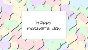 Ευτυχής κάρτα αγάπης ημέρας μητέρων s με τις καρδιές κρητιδογραφιών ως υπόβαθρο, ζουμ μέσα απόθεμα βίντεο