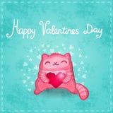 Ευτυχής κάρτα βαλεντίνων. Χαριτωμένη γάτα με την καρδιά. διανυσματική απεικόνιση