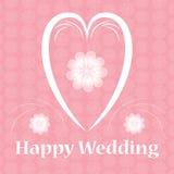 Ευτυχής κάρτα γαμήλιων καρδιών με το σχέδιο λουλουδιών Στοκ φωτογραφίες με δικαίωμα ελεύθερης χρήσης