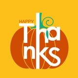 Ευτυχής κάρτα διακοπών ημέρας των ευχαριστιών με την κίτρινη κολοκύθα και lett Διανυσματική απεικόνιση