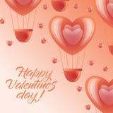 Ευτυχής κάρτα ημέρας βαλεντίνων - ρόδινα μπαλόνια αέρα καρδιών διανυσματική απεικόνιση