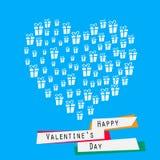 Ευτυχής κάρτα ημέρας βαλεντίνων με την καρδιά των κιβωτίων δώρων Στοκ φωτογραφία με δικαίωμα ελεύθερης χρήσης