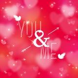 Ευτυχής κάρτα ημέρας βαλεντίνων με τις καρδιές και το βέλος Στοκ Εικόνα