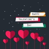 Ευτυχής κάρτα ημέρας βαλεντίνων με τις καρδιές, κορδέλλες, κείμενο ρομαντικός έναστρος ουρανός Στοκ εικόνα με δικαίωμα ελεύθερης χρήσης