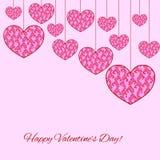 Ευτυχής κάρτα ημέρας βαλεντίνων με τις πλαδαρές δαντελλωτός καρδιές Στοκ φωτογραφία με δικαίωμα ελεύθερης χρήσης
