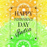 Ευτυχής κάρτα ημέρας της ανεξαρτησίας της Ινδίας με το mandala Στοκ εικόνα με δικαίωμα ελεύθερης χρήσης