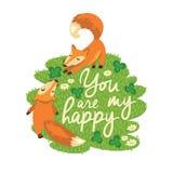 Ευτυχής κάρτα με τις χαριτωμένες αλεπούδες στο διάνυσμα Στοκ Εικόνες