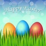 Ευτυχής κάρτα Πάσχας με τα αυγά, χλόη, λουλούδια διανυσματική απεικόνιση