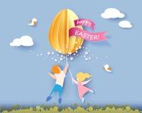 Ευτυχής κάρτα Πάσχας με τα παιδιά, τα λουλούδια και το αυγό Στοκ Φωτογραφία