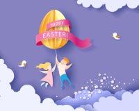 Ευτυχής κάρτα Πάσχας με τα παιδιά, τα λουλούδια και το αυγό Στοκ εικόνα με δικαίωμα ελεύθερης χρήσης