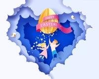 Ευτυχής κάρτα Πάσχας με τα παιδιά, τα λουλούδια και το αυγό Στοκ εικόνες με δικαίωμα ελεύθερης χρήσης
