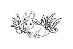 Ευτυχής κάρτα Πάσχας με το κουνέλι, αυγά, χλόη Ελεύθερη απεικόνιση δικαιώματος
