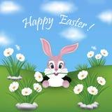 Ευτυχής κάρτα Πάσχας με το κρύψιμο λαγουδάκι Στοκ Εικόνα