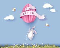 Ευτυχής κάρτα Πάσχας με banny, τα λουλούδια και το αυγό Στοκ Εικόνες