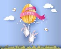 Ευτυχής κάρτα Πάσχας με banny, τα λουλούδια και το αυγό Στοκ Φωτογραφίες