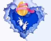 Ευτυχής κάρτα Πάσχας με banny, τα λουλούδια και το αυγό Στοκ φωτογραφία με δικαίωμα ελεύθερης χρήσης