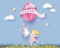 Ευτυχής κάρτα Πάσχας με banny, το κορίτσι και το αυγό Στοκ Εικόνα