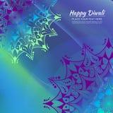 Ευτυχής κάρτα πρόσκλησης Diwali Διανυσματικό mandala στο calorful beckground απεικόνιση αποθεμάτων