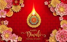 Ευτυχής κάρτα φεστιβάλ Diwali Στοκ Φωτογραφία