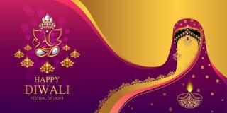 Ευτυχής κάρτα φεστιβάλ Diwali ελεύθερη απεικόνιση δικαιώματος