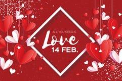 Ευτυχής κάρτα χαιρετισμών ημέρας βαλεντίνων ` s Origami Αγάπη Πετώντας άσπρες και κόκκινες καρδιές αγάπης στο ύφος περικοπών εγγρ ελεύθερη απεικόνιση δικαιώματος