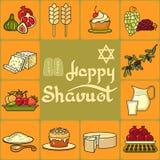 Ευτυχής κάρτα Shavuot εικονίδια που τίθενται Στοκ Φωτογραφίες