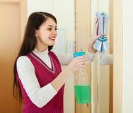Ευτυχής καθαρίζοντας καθρέφτης γυναικών brunette Στοκ Εικόνες