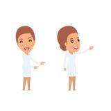 Ευτυχής και εύθυμη νοσοκόμα χαρακτήρα που παρουσιάζει που χρησιμοποιεί δικούς του απεικόνιση αποθεμάτων