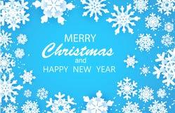 Ευτυχής και νέα κάρτα χαιρετισμών έτους Χαρούμενα Χριστούγεννας Άσπρη νιφάδα χιονιού Χειμερινά snowflakes ανασκόπηση διανυσματική απεικόνιση