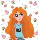 Ευτυχής και όμορφος διανυσματικός χαρακτήρας κοριτσιών πιπεροριζών φωτογράφων με το σχέδιο λουλουδιών και φρούτων γύρω από την Στοκ εικόνες με δικαίωμα ελεύθερης χρήσης