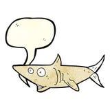 ευτυχής καρχαρίας κινούμενων σχεδίων με τη λεκτική φυσαλίδα Στοκ Φωτογραφίες
