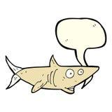 ευτυχής καρχαρίας κινούμενων σχεδίων με τη λεκτική φυσαλίδα Στοκ εικόνες με δικαίωμα ελεύθερης χρήσης