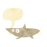ευτυχής καρχαρίας κινούμενων σχεδίων με τη λεκτική φυσαλίδα Στοκ φωτογραφία με δικαίωμα ελεύθερης χρήσης