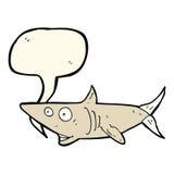 ευτυχής καρχαρίας κινούμενων σχεδίων με τη λεκτική φυσαλίδα Στοκ Εικόνες