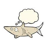 ευτυχής καρχαρίας κινούμενων σχεδίων με τη σκεπτόμενη φυσαλίδα Στοκ φωτογραφία με δικαίωμα ελεύθερης χρήσης