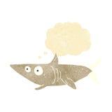 ευτυχής καρχαρίας κινούμενων σχεδίων με τη σκεπτόμενη φυσαλίδα Στοκ Φωτογραφίες
