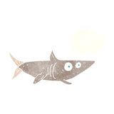 ευτυχής καρχαρίας κινούμενων σχεδίων με τη σκεπτόμενη φυσαλίδα Στοκ εικόνα με δικαίωμα ελεύθερης χρήσης