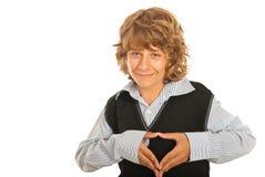 Ευτυχής καρδιά μορφής εφήβων Στοκ φωτογραφία με δικαίωμα ελεύθερης χρήσης