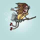 Ευτυχής καλή μάγισσα αποκριών που πετά στον ουρανό Στοκ εικόνα με δικαίωμα ελεύθερης χρήσης